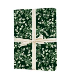 Single Evergreen Mistletoe Wrapping Sheet (Flat)