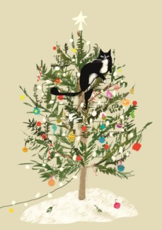 Christmas tree cat/Cello pack of 5|Art Press