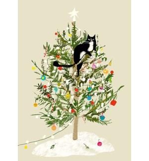 Christmas tree cat 5x7|Art Press