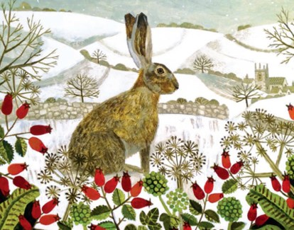 Seated Hare In The Snow - Cello Pack Of 5|Canns Down