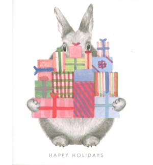 Bunny holding holiday gifts 4.5 x 5.5 |Dear Hancock