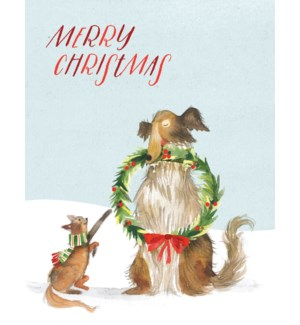 CELLO-Cat and Dog with Wreath|Halfpenny
