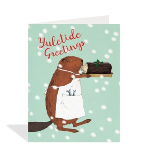 Beaver with Yule Log|Halfpenny