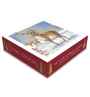 Winter Stag Deluxe Small 4 ea of 3  4.5x4.5|Ling Design
