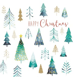 Frosty Christmas Trees Deluxe Large  Acetate 5 ea of 1 6x6|L