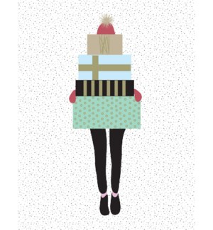 BOX-Girl With Presents French|Paper E Clips