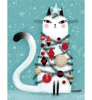BOX-Cat covered in Christmas decorations Paper E Clips