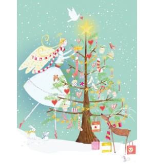 ADVENT CARD-Angel Decorating Tree|Real and Exciting
