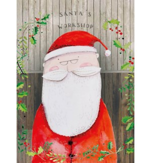 ADVENT CARD-Santas Workshop & Holly |Real and Exciting