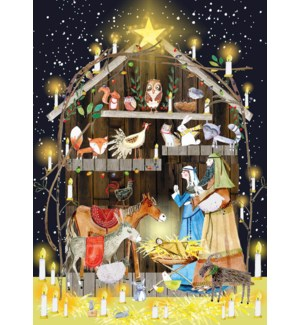 ADVENT CARD-Nativity With Animals|Real and Exciting