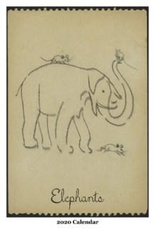 Elephant  WallCalendar  12.5x19 Retrospect