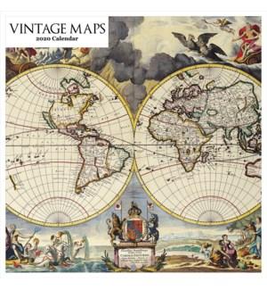 Vintage Maps Square Calendar 12x12 Retrospect