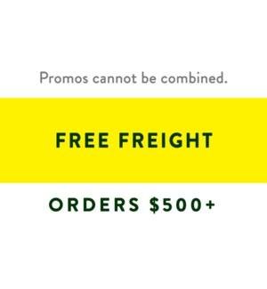 Free Freight $500+