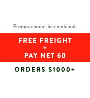 Free Freight $1000 + Pay Dec 15