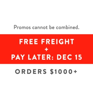 Free Freight $1500 + 5% + Pay Dec 15