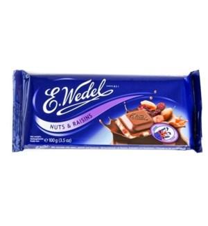 MILK CHOCOLATE WITH RAISINS & NUTS 100GRx20