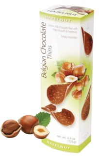Belgian Chocolate Thins Hazelnut 80gr x 12