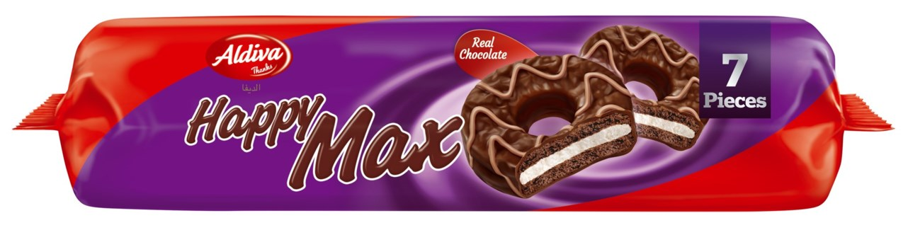 HAPPY MAX MILK CHOC COATED SANDWICH COCOA BISCUIT MARSHMALLOW 201GRx12