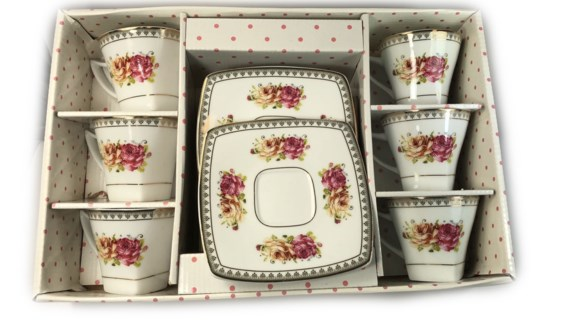 PORCELAIN COFFEE SET (61027 GL100 TURQUASE OG 5289) 6PCX1