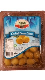 GREEN OLIVES COCTAIL 600GRX24 VACUUM PACK