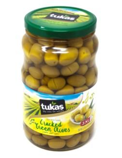JUMBO CRACKED GREEN OLIVES 1700Gx6