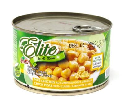 COOKED CHICK PEAS IN BRINE WITH CUMIN TIN 370GRX12