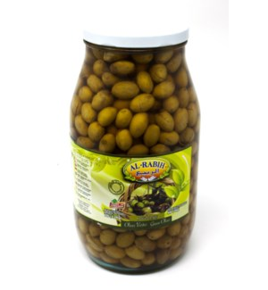 GREEN OLIVES (WHOLE) IN BRINE GLASS JAR 3.2KGX4