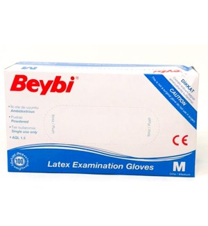 BEYBI LATEX POWDERED GLOVES - MEDIUM 100X1