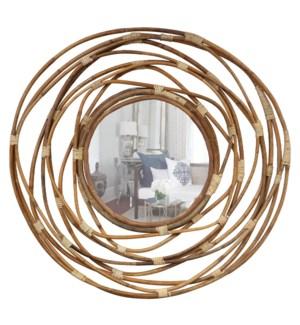Rattan Circles Mirror