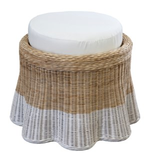Dipped Scallop Round Ottoman