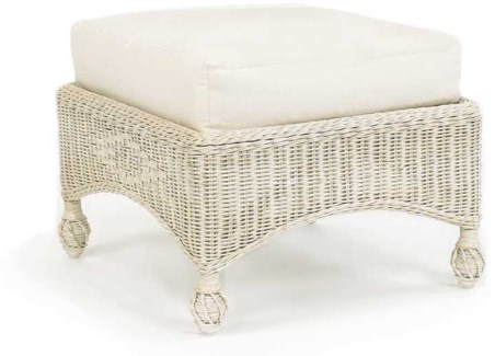 Hampton's Cushioned Wicker Ottoman
