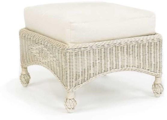 Hampton's Cushioned Wicker Ottoman