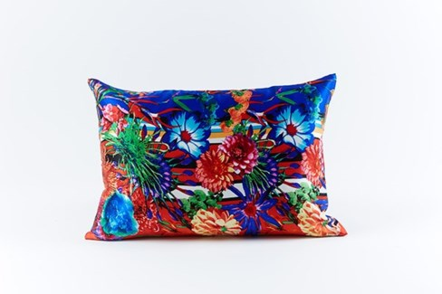 flower stripe silk pillow