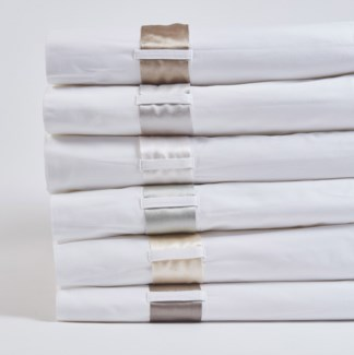cotton sheet set with silk bands
