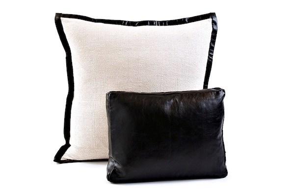 basketweave sham with leather trim