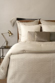 silk texture french knot coverlet