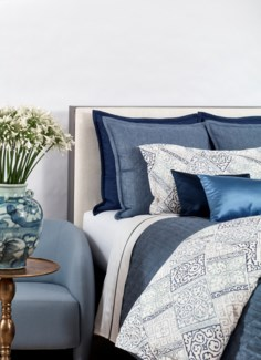 faux linen coverlet set - indigo