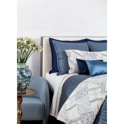 faux linen coverlet set - indigo