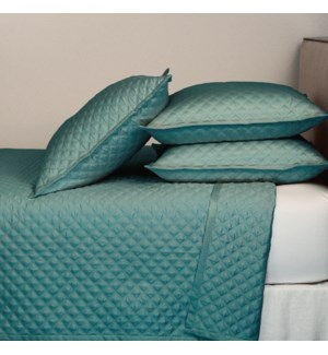 double diamond coverlet set - teal