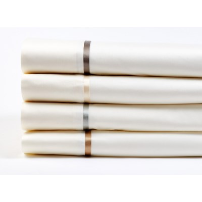 cotton sheet set with charmeuse trim