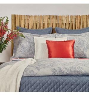 faux linen coverlet set - stonewash blue