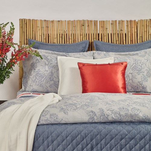 faux linen coverlet set - stonewash blue