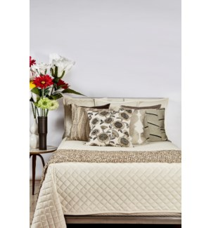 velvet coverlet set - ivory