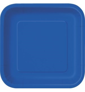 "UQ #31484 9"" SQ PLATE/ROYAL BLUE"