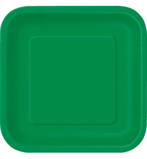 "UQ #31871 9"" SQ PLATE/EMERALD GREEN"