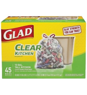 GLAD #78543 TALL KITCHEN BAGS CLEAR