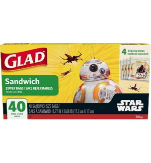 GLAD #78820 SANDWICH ZIPPER BAGS STAR WARS