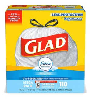 GLAD #79128 TALL KITCHEN BAGS FRESH CLEAN FEBREZE