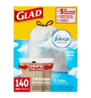 GLAD #79253 TALL KITCHEN BAGS FRESH CLEAN FEBREZE