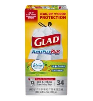 GLAD #79297 TALL KITCHEN BAGS CLOROX LEMON FRESH